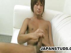 Yuta ozaki jerks his hard asian cock