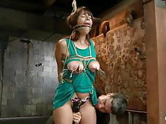 milf, bdsm, brunette, tit torture, tied up, ropes, executor, squeezed boobs, ball gagged, hogtied, kink, nina lopez
