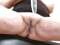 Big boobs blonde mature playing