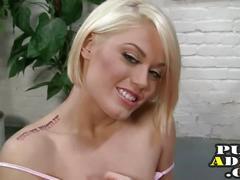 Hot blonde jerks a guy off