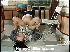 Maid takes her tights off for her boss to fuck her