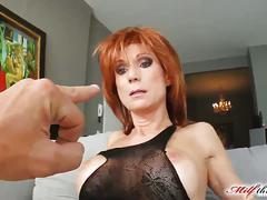 Sexy redhead milf nina fucks like a champ