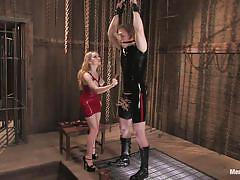 milf, latex, spanking, mistress, whipping, cock torture, clothespins, sex dungeon, men in pain, kink men, aiden starr, angel m