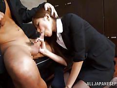 Japanese corporate cutie mouth fucked