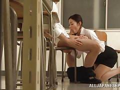 Beautiful japanese teacher sucks her student's cock