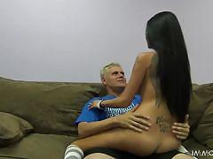 Sexy brunette gets her pussy fingered