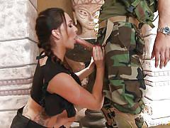 Cutie sucking an army guy