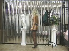 Hot blonde strips for camera guy