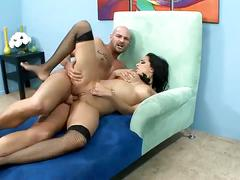 Sexy brunette cop gets big cock in her tight pussy