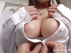 babe, japanese, teacher, big boobs, pov, bra, leather collar, breast fondling, finger sucking, jp teacher, all japanese pass, sayuki kanno