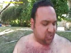 Black babe plays with fat guy