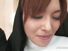 Beautiful asian nun gets gangbanged