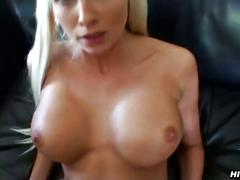 Fucked blonde cutie gets cum on her tits