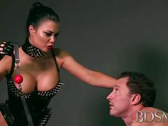 Mistress jasmine spanks and pleasures her slave