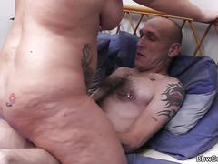 Blonde plumper rides married man's cock