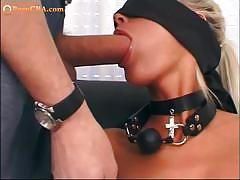 Slender blonde sloppy blowjob and ass toying