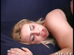 Horny french slut gets her hot pussy drilled
