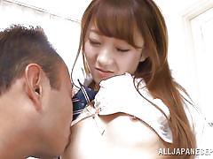 Japanese schoolgirl gets her shaved cunt eaten