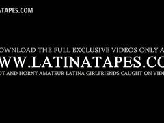 Smiling latina gets boobs and pussy teased in bed