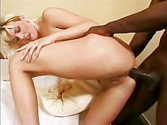 Sexy blonde surprised by big black cock