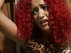 Redhead sexually exploited by transexual
