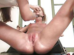 blonde, lesbian bdsm, hot, gynecologist table, shaved pussy, medical fetish, wired pussy, kink, harmony, jaelyn fox