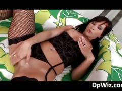 Slutty brunette babe gets pussy and ass