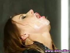 Gloryhole bukkake hoe gets fetish facial