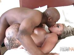 Big tits gets her pussy filled hard.
