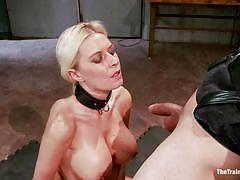 Blonde sex slave getting fucked