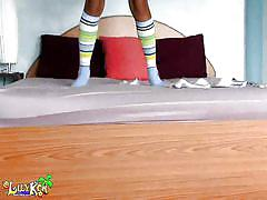 Asian teen has fun in her bedroom