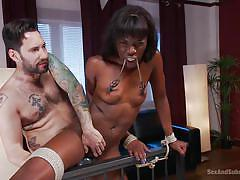 interracial, slave, domination, tit torture, from behind, hard fuck, ebony babe, rope bondage, sex and submission, kink, ana foxxx, tommy pistol