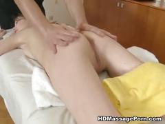Young girl fucking on massage table