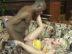 Hot blonde moms tastes huge black cock