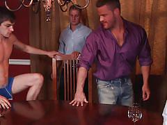 deepthroat, ass fingering, tattooed, muscled, gay blowjob, gay anal, gay, gay orgy, on the table, jizz orgy, men, logan vaughn, paul wagner, landon conrad, johnny rapid