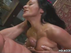 Brunette slut gags on huge cock