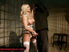 Busty blonde slave used by her master