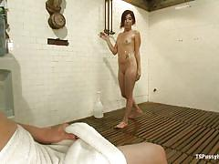 babe, redhead, blowjob, shower, locker room, shemale girl, wet body, brunette shemale, ts pussy hunters, kink, venus lux, leah cortez