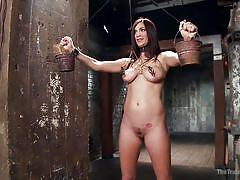 big boobs, vibrator, brunette, sex slave, executor, bucket, nipple clamp, nipple torture, the training of o, kink, holly michaels