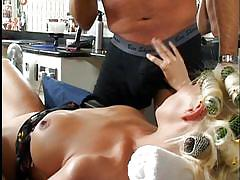 Sexy blonde geting shaved
