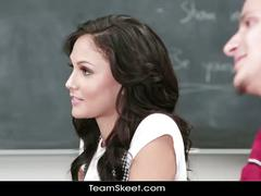 Hot brunette teen fucks in front of the teacher