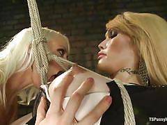 Blonde mom hangs and blows a shemale