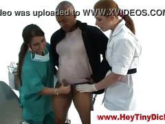 Cumshot for femdom nurses after tiny cock handjob