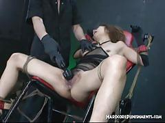 brunette, asian, bdsm, toys, threesome, slave, vibrator, mistress, humiliation, mmf, dungeon