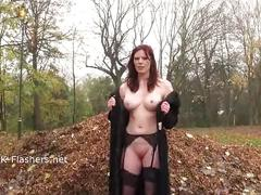 Redhead holly kiss flashing in public and outdoor dildo masturbation of exhibiti