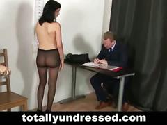 Dirty interview with hot brunette