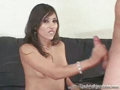 Horny brunette babe giving nice handjob.