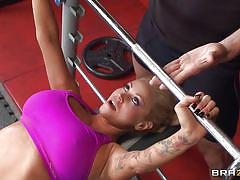 Tit fucking at the gym