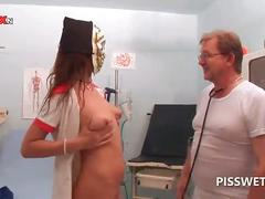 Slutty nurse teaches blonde how to suck doctors shaft