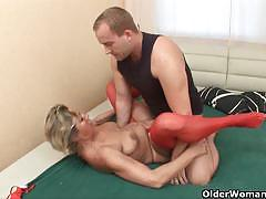 Vicious mature blonde gets pounded very hard